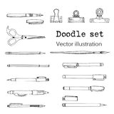 Isolated set of stationeryin cartoon style. Sketch of writing items.. Doodle writing supplies, pen, pencil, scissors Cool design elemements for infographic, web Stock Images