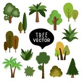 Isolated set vector drawing doodle cute cartoon flat tree stock illustration