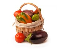 Isolated, Set, Vegetables, Basket Stock Photos