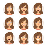Isolated set of woman avatar expressions face emotions vector illustration. Stock Images