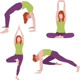 Isolated set of woman in different positions. A  isolated set of young woman, practicing yoga or aerobics in different positions on a white background vector illustration