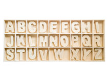 Isolated set of wooden A to Z alphabet in the box Royalty Free Stock Images