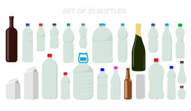 25 isolated shapes of bottles Royalty Free Stock Photos