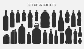 25 isolated shapes of bottles. Vector set of 25 isolated shapes of bottles Stock Photo
