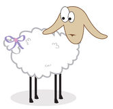 Isolated sheep with a bow on a tail. Vector illust Stock Photos
