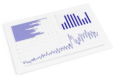 Isolated Sheet with Charts Stock Photo