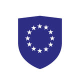 Isolated shield with  the EU flag stars Royalty Free Stock Image
