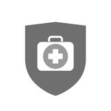 Isolated shield with  a first aid kit icon. Illustration of an isolated  shield with  a first aid kit icon Stock Photo