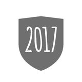 Isolated shield with  a 2017 year  number icon. Illustration of an isolated  shield with  a 2017 year  number icon Royalty Free Stock Image