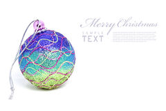 Isolated shiny pink Christmas ball. With copy space Stock Photos