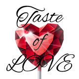 Isolated shiny red ruby heart shape lollipop  Stock Image