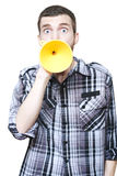 Isolated Shocked Man With Petrol Funnel Megaphone Royalty Free Stock Photos