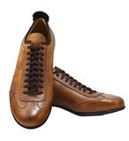 Isolated shoes with clipping path. Brown leather fashion shoes. Clipping path included Stock Images