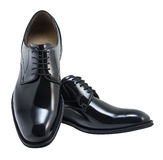 Isolated shoes with clipping path. Black leather executive shoes. Clipping path included Stock Image