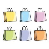 Isolated shopping bag color variations stock illustration