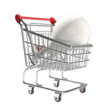 Isolated shopping cart with big ligth bulb Stock Photography