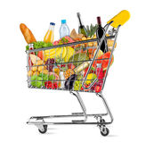 Isolated shopping cart filled with food