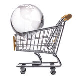 Isolated shopping cart and globe Royalty Free Stock Photo