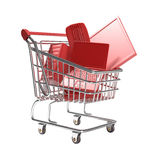 Isolated shopping cart with technology concept Royalty Free Stock Images