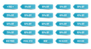 Isolated shopping tags set. Blue discount labels Royalty Free Stock Photos