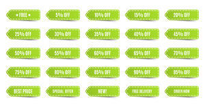Isolated shopping tags set. Green discount labels. 5 10 15 20 25 30 35 40 45 50 55 60 65 70 75 80 85 90 95 percent. Vector illustration stock illustration