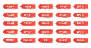 Isolated shopping tags set. Red discount labels. 5 10 15 20 25 30 35 40 45 50 55 60 65 70 75 80 85 90 95 percent. Vector illustration Stock Images