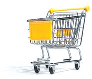 Isolated shopping trolley. On white royalty free stock photography