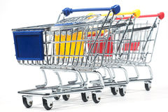Isolated shopping trolley. On white stock images