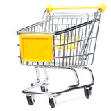 Isolated shopping trolley. On white stock photography