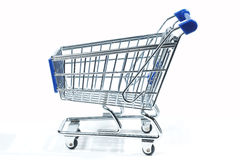 Isolated shopping trolley. On white royalty free stock photo
