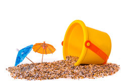 Isolated shot of beach toys, bucket Royalty Free Stock Images