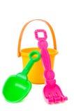 Isolated shot of beach toys, bucket Stock Photos
