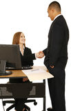 Isolated Shot Of Business People Make A Deal. Isolated shot of business people shake hand. both showing smiling and happy expression. concept for business deal Stock Images