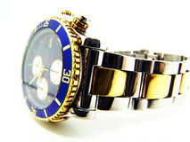 Isolated shot of a dive watch with blue crown Stock Image