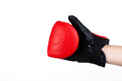 Isolated shot of a man wearing boxing gloves Royalty Free Stock Images