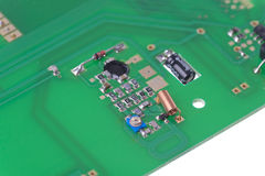Isolated shot of PCB with oscillator circuit Stock Photo