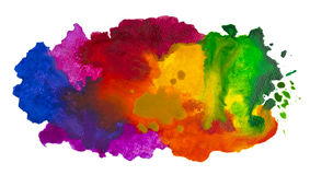 Isolated shot of watercolor cloud hand drawn on canvas Royalty Free Stock Photos