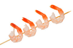 Isolated shrimp on a skewer Royalty Free Stock Photos