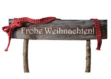Isolated Sign Frohe Weihnachten Mean Merry Christmas, Red Ribbon Royalty Free Stock Photography
