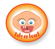 Isolated sign with text Baby on board, screaming Stock Photography