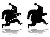 Silhouette of santa claus, vector draw. Isolated silhouette of a running santa claus, black and white drawing, white background Stock Photography