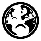 Sad earth silhouette. Isolated silhouette of a sad and sweating earth. Vector illustration design Royalty Free Stock Image