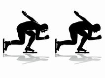 Silhouette of a speed skater , vector draw. Isolated silhouette of a speed skater , black and white drawing, white background Stock Photos