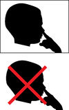 Isolated Silhouetted Boy Child Picking Nose Royalty Free Stock Image