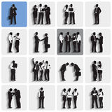 Isolated Silhouettes of Business People Working Royalty Free Stock Photo