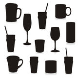 Isolated Silhouettes Drink Containers Stock Images