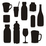 Isolated Silhouettes Drink Containers Stock Photo