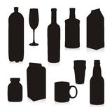 Isolated Silhouettes Drink Containers. Vector illustration of isolated drink containers Royalty Free Stock Image