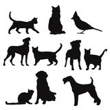 Pet silhouettes isolated , vector vector illustration