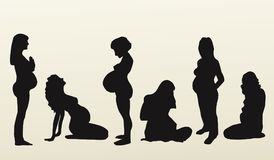 Isolated silhouettes of pregnant women, vector stock illustration
